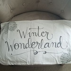 Pottery Barn Pillow Cover Winter Holiday Gray